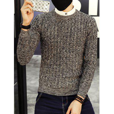 Crew Neck Ribbed Knitted Heather Sweater