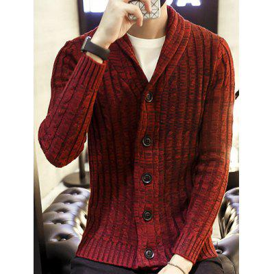 Buy WINE RED Shawl Collar Ribbed Knit Cardigan for $18.38 in GearBest store