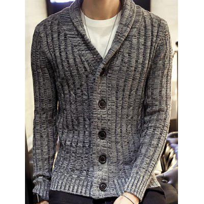 Buy GRAY Shawl Collar Ribbed Knit Cardigan for $18.38 in GearBest store