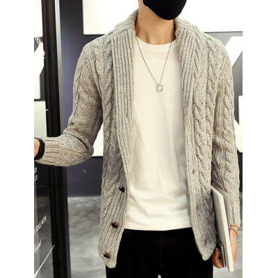 Buy GRAY Shawl Collar Cable Knitted Cardigan for $25.82 in GearBest store