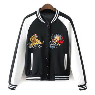 Buttoned Embroidered Baseball Jacket