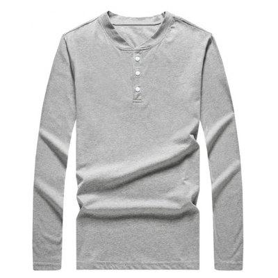 V-Neck Long Sleeve Button T-Shirt