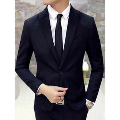 Slim-Fit Lapel Single Breasted Jacquard Blazer