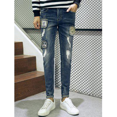 Buy BLUE 32 Frayed Patch Design Scratched Zipper Fly Tapered Jeans for $36.32 in GearBest store