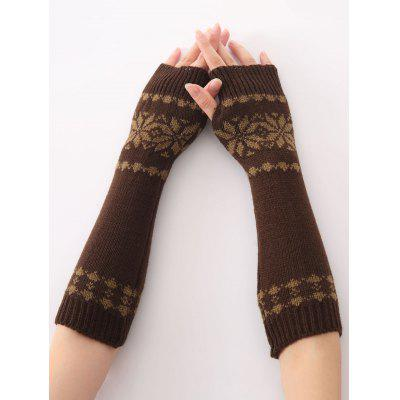 Winter Warm Christmas Snow Floral Crochet Knit Arm Warmers