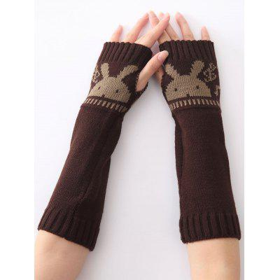Buy COFFEE Christmas Winter Rabbit Head Hollow Out Crochet Knit Arm Warmers for $5.17 in GearBest store