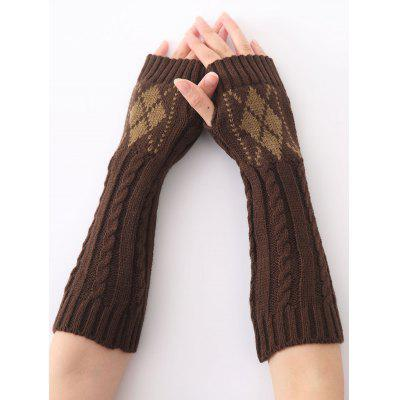 Buy COFFEE Hemp Decorative Pattern Diamond Christmas Crochet Knit Arm Warmers for $5.12 in GearBest store