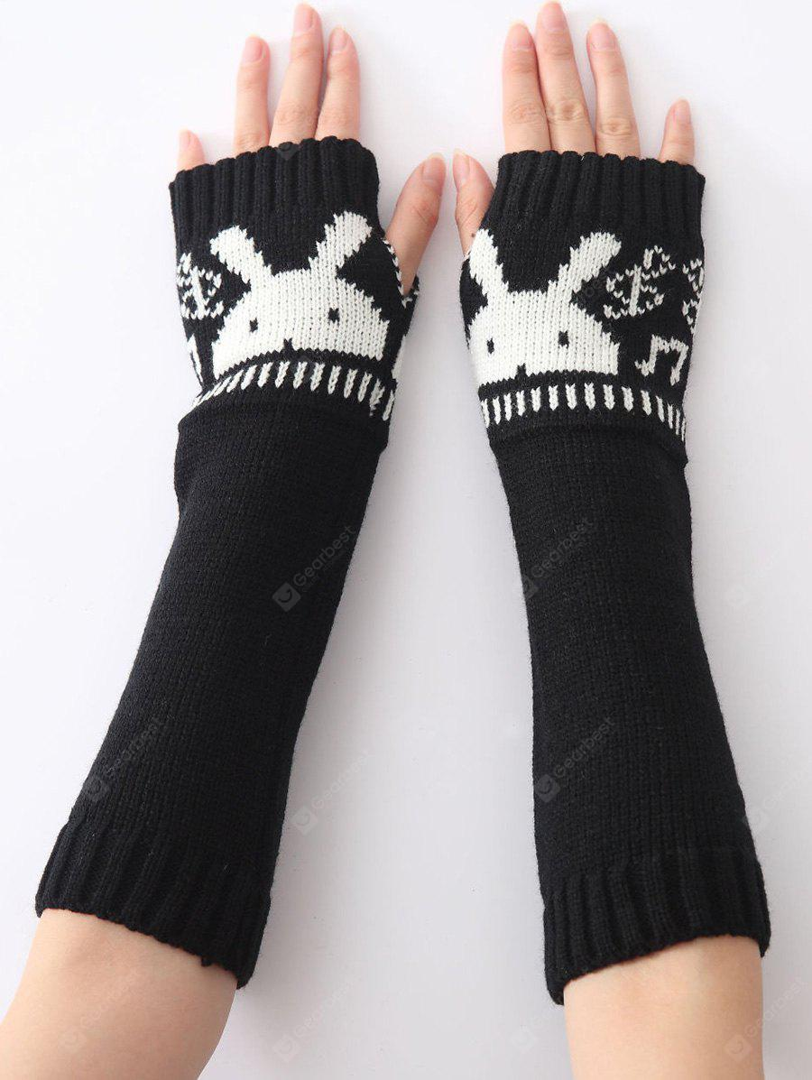 Buy Christmas Winter Rabbit Head Hollow Crochet Knit Arm Warmers BLACK