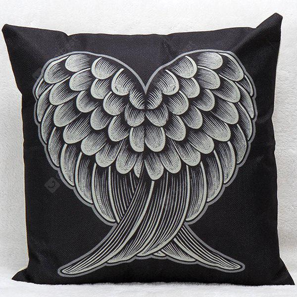 Soft Decorative Household Red and Black Heart Wings Pillow Case