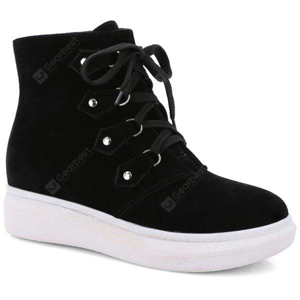 Metall-Lace-Up Suede Ankle Boots