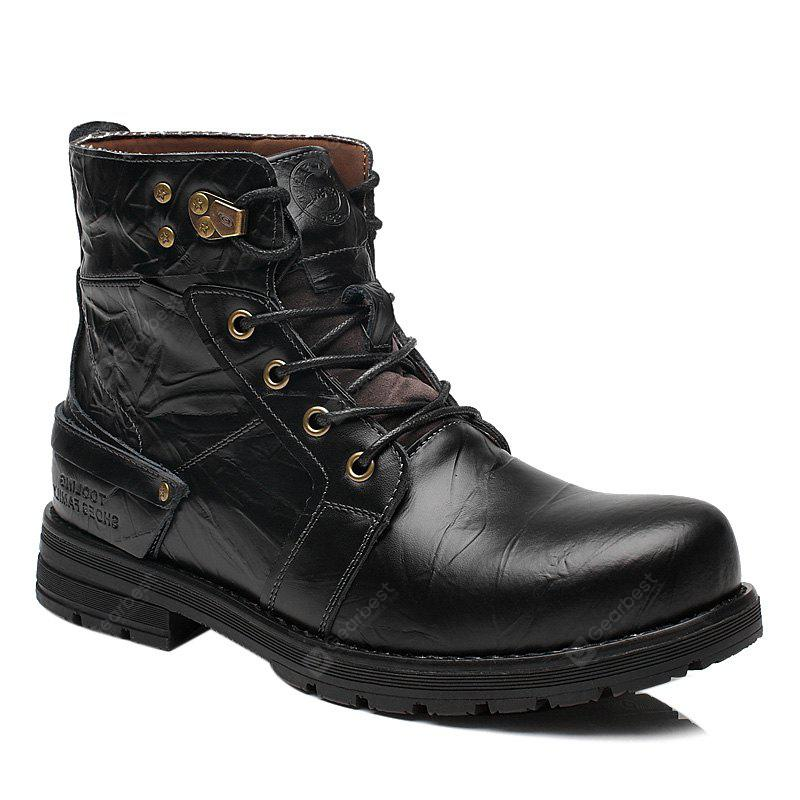Lace Up PU Leather Metal Boots
