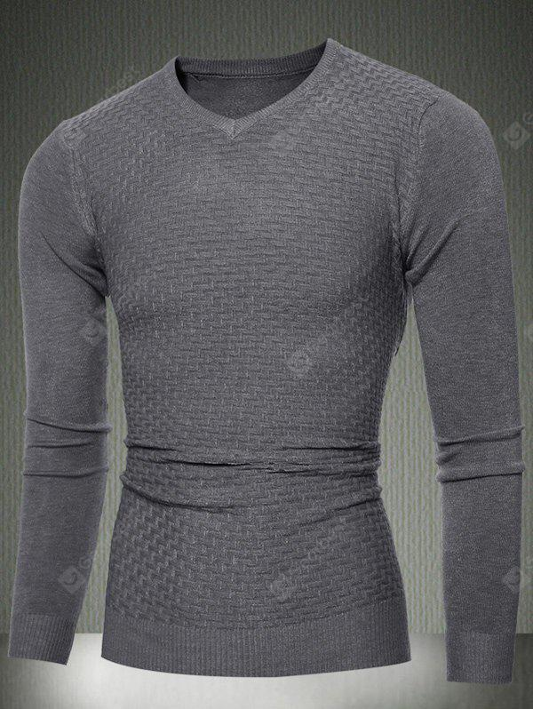 Slim Fit V-Neck Sweater Textured Knit 2XL DEEP GRAY