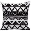 Soft Decorative Geometrics Sofa Bed Pillow Case - WHITE AND BLACK