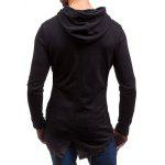 Zippered Slit Back Drawstring Graphic Hoodie - PRETO