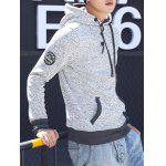 cheap Button Pocket Appliqued Sweatshirt Hoodie