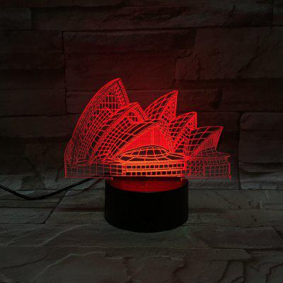 3D Illusion Sydney Opera House 7 Color Change LED Touching Night Light