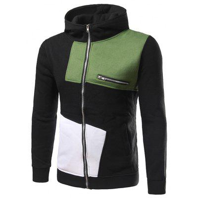 Constrast Color Patchwork Side Pocket Zippered Hoodie