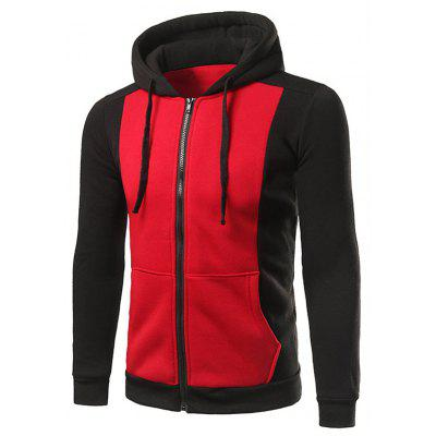 Zip Up Drawstring Two Tone Hoodie