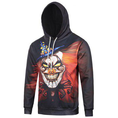 Hooded 3D Clown Moon Star Print Halloween Hoodie