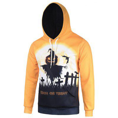 Hooded 3D Halloween Pumpkin Bat Crucifix Print Orange Hoodie