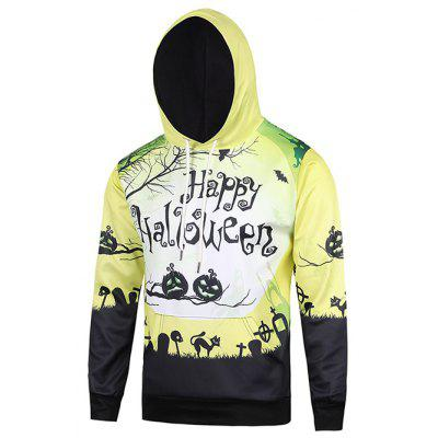 Hooded 3D Devil Halloween Pumpkin Crucifix Bat Cat Print Hoodie