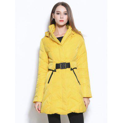 Belted Hooded Zipper Design Coat