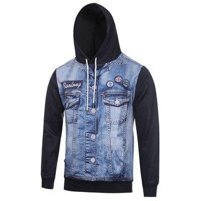 Hooded 3D Faux Denim Jacket Printed Hoodie