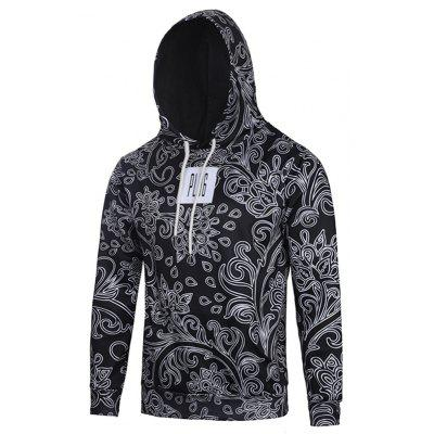 Hooded Tree Leaves Water Drop Printed Patched Hoodie