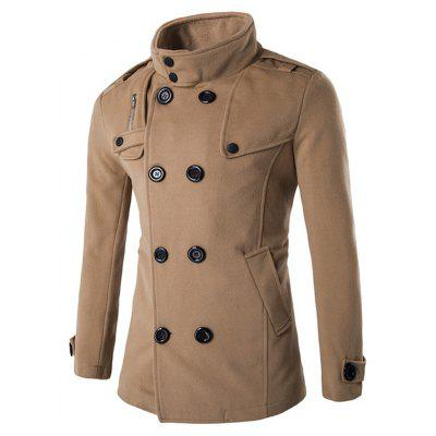 Zippered Back Vent Button Tab Cuff Pea Coat