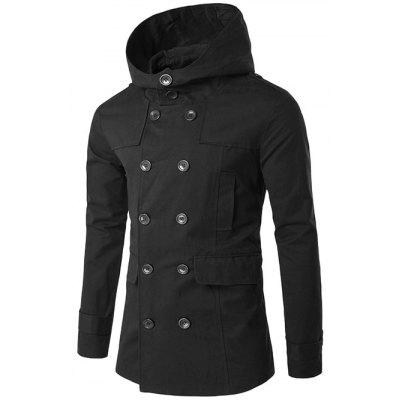 Buy BLACK Double Breasted Spliced Hooded Wind Coat for $31.78 in GearBest store