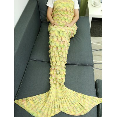 Buy Warmth Hollow Out Design Knitted Mermaid Tail Blanket YELLOW for $27.24 in GearBest store