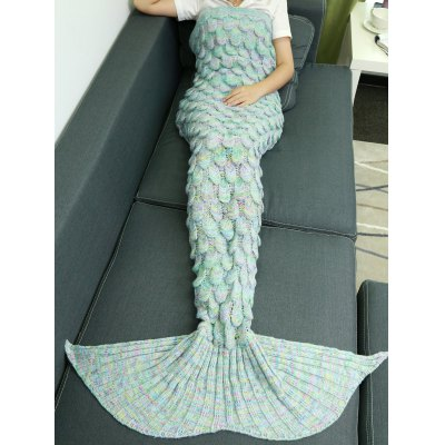 Buy AZURE Warmth Hollow Out Design Knitted Mermaid Tail Blanket for $21.30 in GearBest store