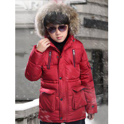 Faux Fur Zipper Fly Padded Coat