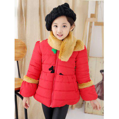 Girls Butterfly Embroidered Bowknot Padded Jacket