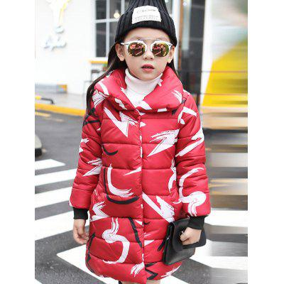 Girls Abstract Print Long Padded Coat