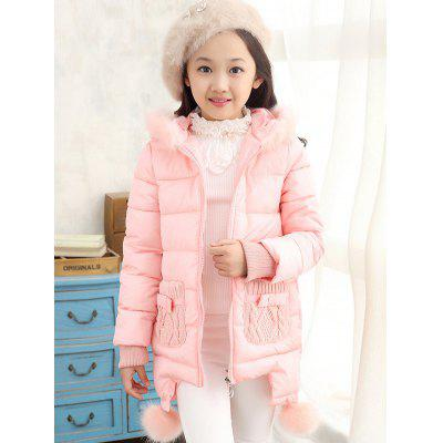 Hooded Fur Spliced Long Padded Coat