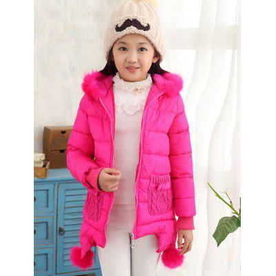Girls Hooded Fur Spliced Long Padded Coat