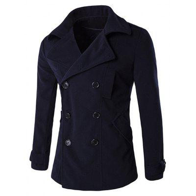 Epaulet Design Button Tab Cuff Pea Coat