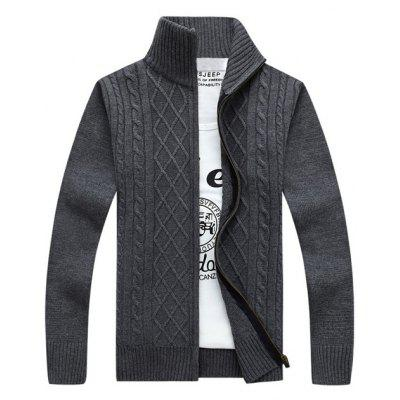 Buy GRAY Stand Collar Zip-Up Cable Knitted Cardigan for $16.92 in GearBest store