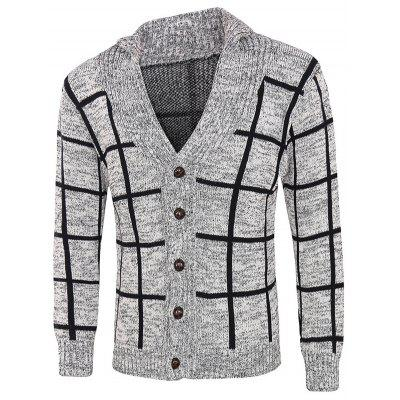 Grid Pattern Heathered Cardigan