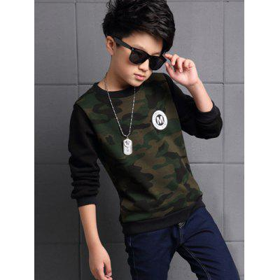 Appliqued Long Sleeve Thicken Camo T Shirt