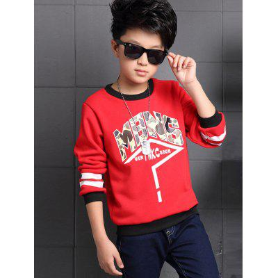 Round Collar Long Sleeve Printed T Shirt