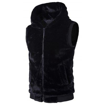 Rib-Hem Hooded Plush Fleece Vest