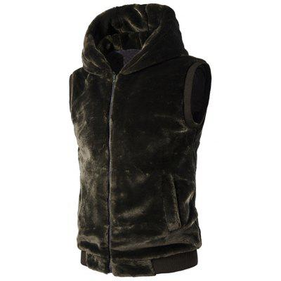 Rib-Hem Zip Up Cappuccio peluche Fleece Vest