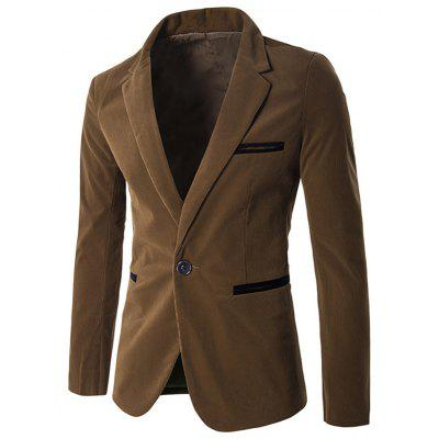 Single Breasted Notch Lapel Contrast Pocket Corduroy Blazer