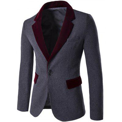 Lapel Flap Pocket Color Block Wool Blend Blazer