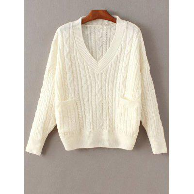Buy WHITE Cable Knit Double Pocket V Neck Sweater for $24.51 in GearBest store