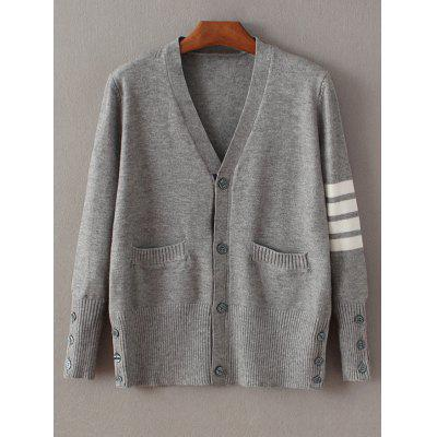 Buy GRAY Buttoned Striped Fitting Cardigan for $29.71 in GearBest store
