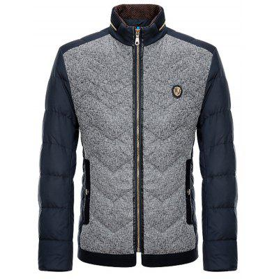 Badge Agrémentée Spliced ​​Conception Zip-Up Down Jacket