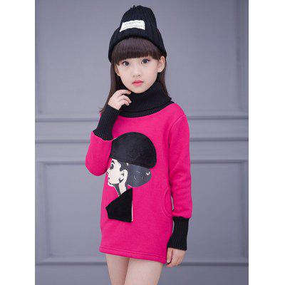 Girls Turtle Neck Long Sleeve Beauty Print Mini Dress